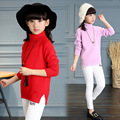 Blusas de inverno Meninas 4 5 6 7 8 9 10 11 t Crianças Malhas Casacos Crianças Roupa Da Menina Camisola de Malha de Gola Alta Cardigan