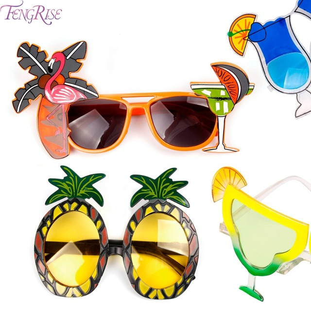 c009f96d11d43 FENGRISE Hawaii Beach Flamingo Pineapple Sunglasses Goggles Bachelorette  Hen Night Stag Party Favors Carnival Party Decoration