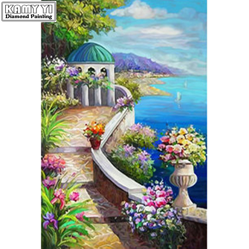 Diy 5d diamond painting diamond mosaic scenery seaside painting cross stitch picture home living room decoration beautiful gift