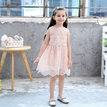 Kids Girl Ball Gown Dress New Pink Toddler Girl Summer Lace Dress Princess Birthday Party Dress Children Clothing girl cotton lace dress for kids 2017 summer new arrival children clothes pink grey lace princess korean cute backless dress