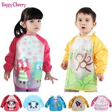Baby Bib Burp Children Toddler Colorful boy girls Waterproof Long Sleeve Cute Art Apron Animal Smock Feeding Painting Clothes