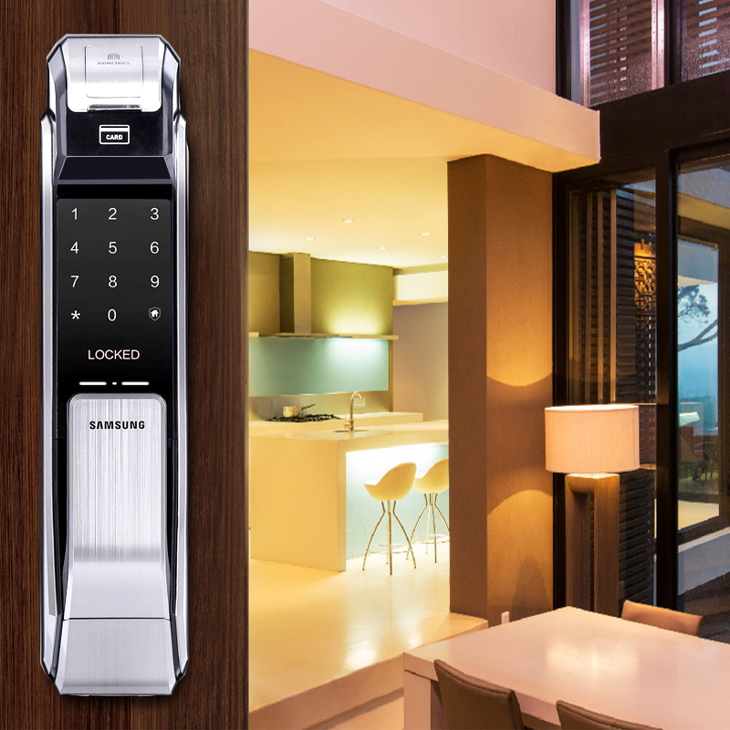 Samsung SHS P718 Fingerprint Digital Door Lock Push Pull Door Lock Silver Color Big Mortise English