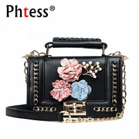 2018 Flowers Women Messenger Bags Small Leather Shoulder Bags Female Sac A Main Mini Flap Chains