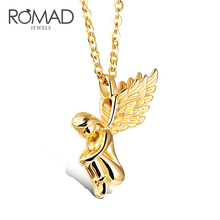 ROMAD Long Wings Angel Girl Necklace Cherub Pendant Stainless Steel Necklace for Women Trendy Jewelry R4 angel wings rhinestone teardrop necklace