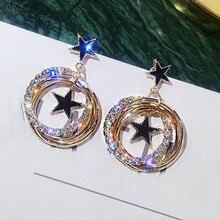цена на Multilayer Circle Star Rhinestone Drop Earrings Jewelry Fashion 2019 European Statement Square Earrings For Women Bijoux Gift