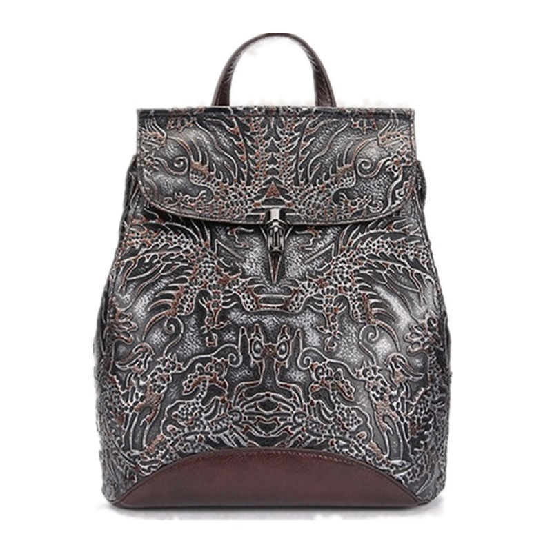 Genuine Leather Women Embossed Rucksack First Layer Cowhide Daypack Casual School Book Bag Knapsack Famous Brand