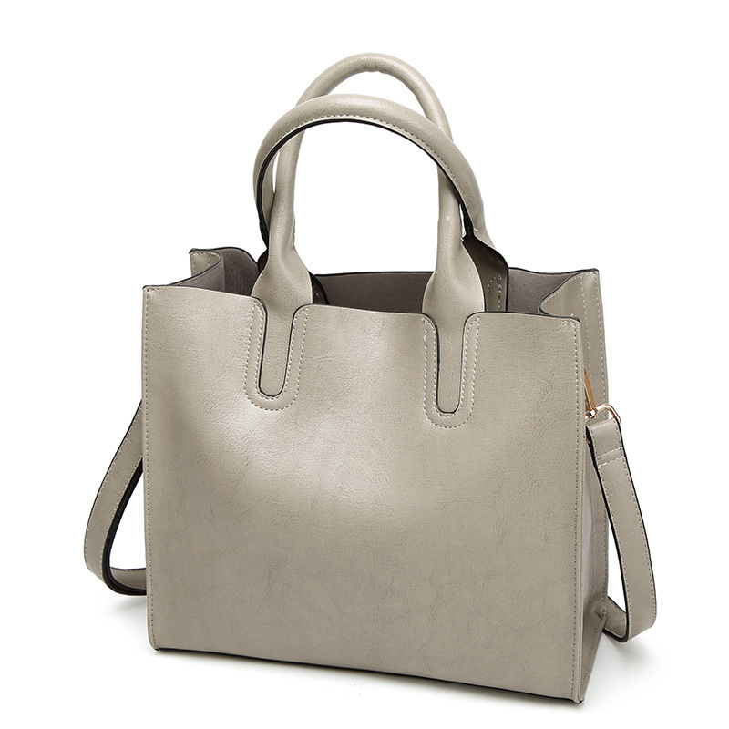 2017 Brand Women Bag High Quality Oil Wax Leather Tote Handbag Solid Fashion Shoulder Bags Large Capacity Single Shoulder Strap