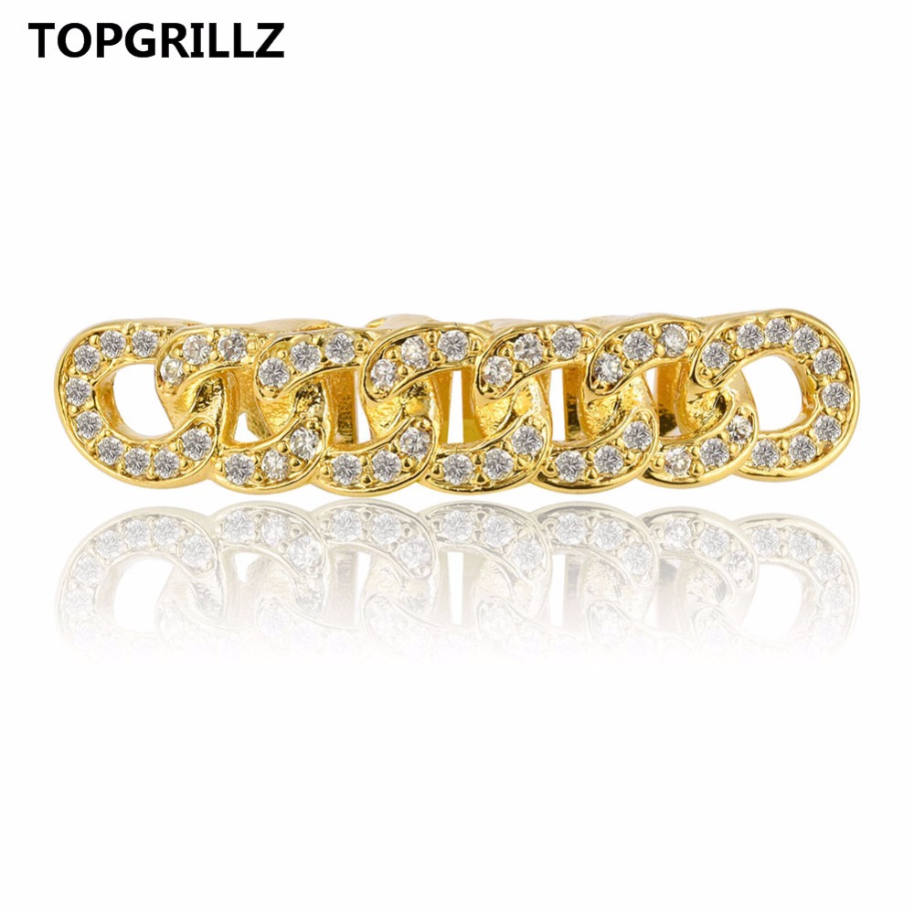 TOPGRILLZ Cuban Link Grillz Pure HQ Gold Color Plated Hip Hop Bottom Teeth Grills Flooded with CZ Stones Tooth Grill For Gift