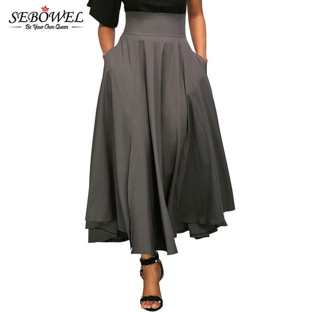 SEBOWEL 2017 осень-зима Для женщин юбка винтажные Ретро плюс Размеры Высокая талия плиссированные поясом Юбка макси с бантом сзади Макси-длины S-XXL