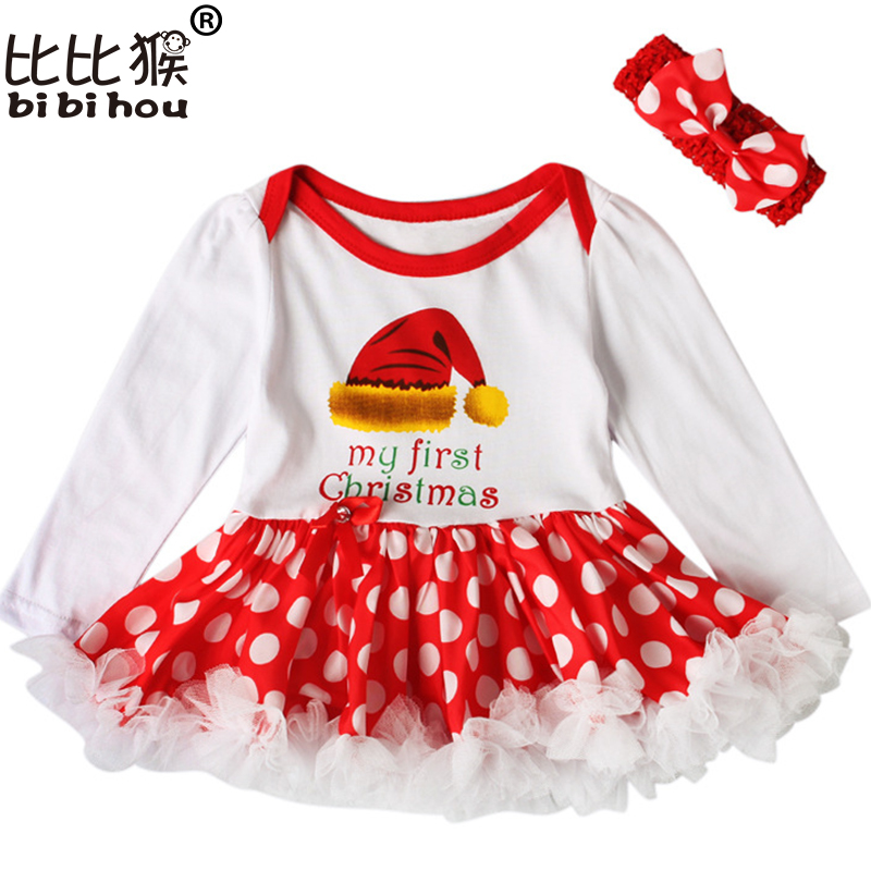 Christmas 1 st Girls Bodysuit Baby Girl Clothes Baptism Dresses Long Sleeve Dress baby body Clothing Tutu Clothes 2pcs party