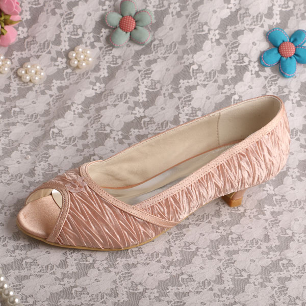 Wedopus MW222 Low Heeled Champagne Bridal Shoes Comfortable Dropshipping