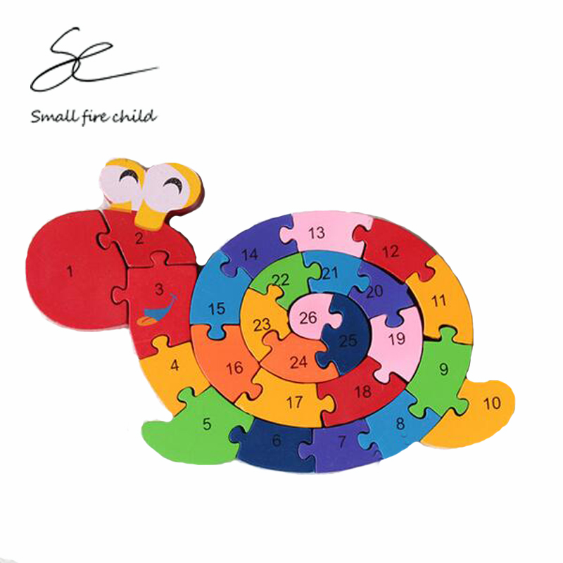 2017 New exercise children hands ability environmental wood puzzles 26 English letters snail toys assembled jigsaw puzzle