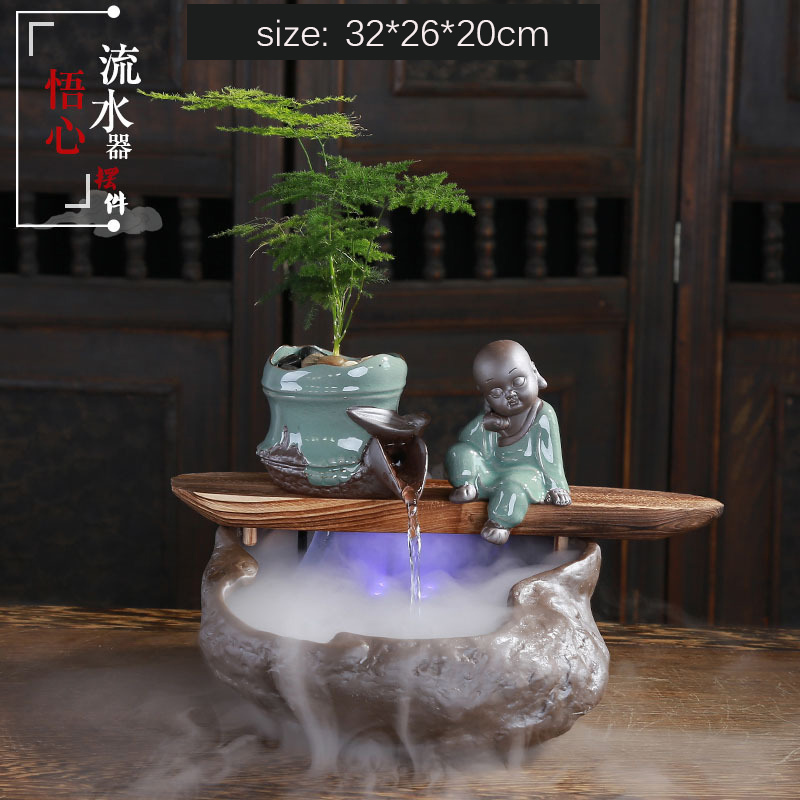Running Water Fountain Hand Painted Buddha Statue Poet Living Room Office Atomization Ceramic Humidifier Home Decoration Crafts