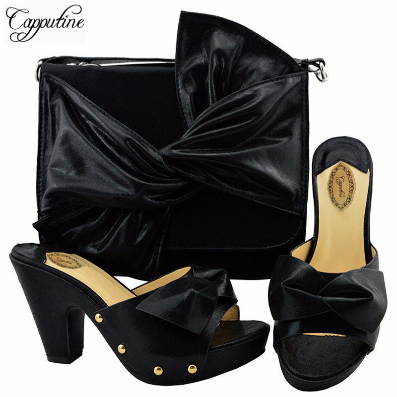 Capputine Nigeria Style Woman Black Color High Heels Shoes And Bag Set For Party Italian Pumps Party Shoes And Bag Set YM006 capputine africa style shoes and bag set fashion woman high heels pumps shoes and bag set for party free shipping bch 27