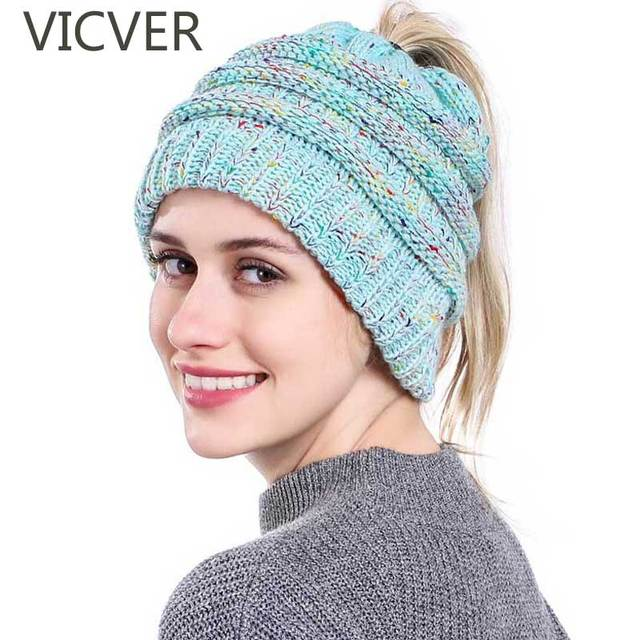Soft Knit Ponytail Beanie Winter Hats For Women Messy Bun Cap Skullies  Beanies Knitted Hat Warm 9f0ae9801bd