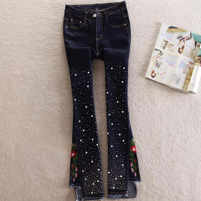 jeans   women's diamond pants flared pants female embroidery elasticity