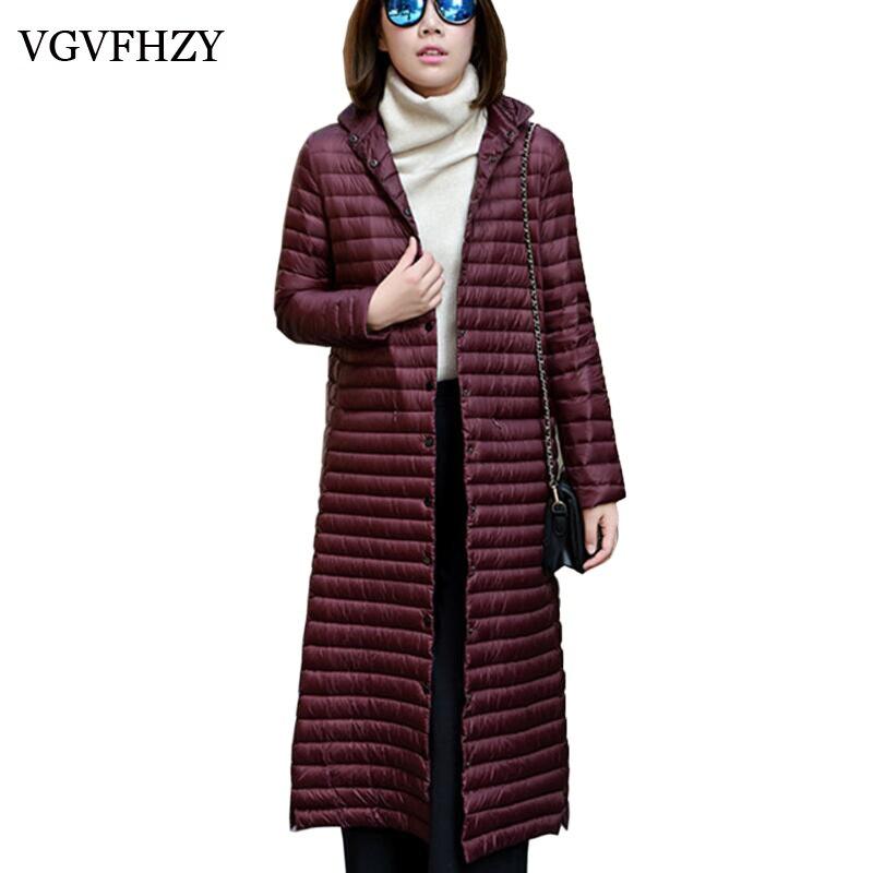 Down     Coat   Women 2017 New Winter Jacket Plus Size Parkas Female Light thin 90% White Duck   Down   Jackets XL- long Outerwear LY645