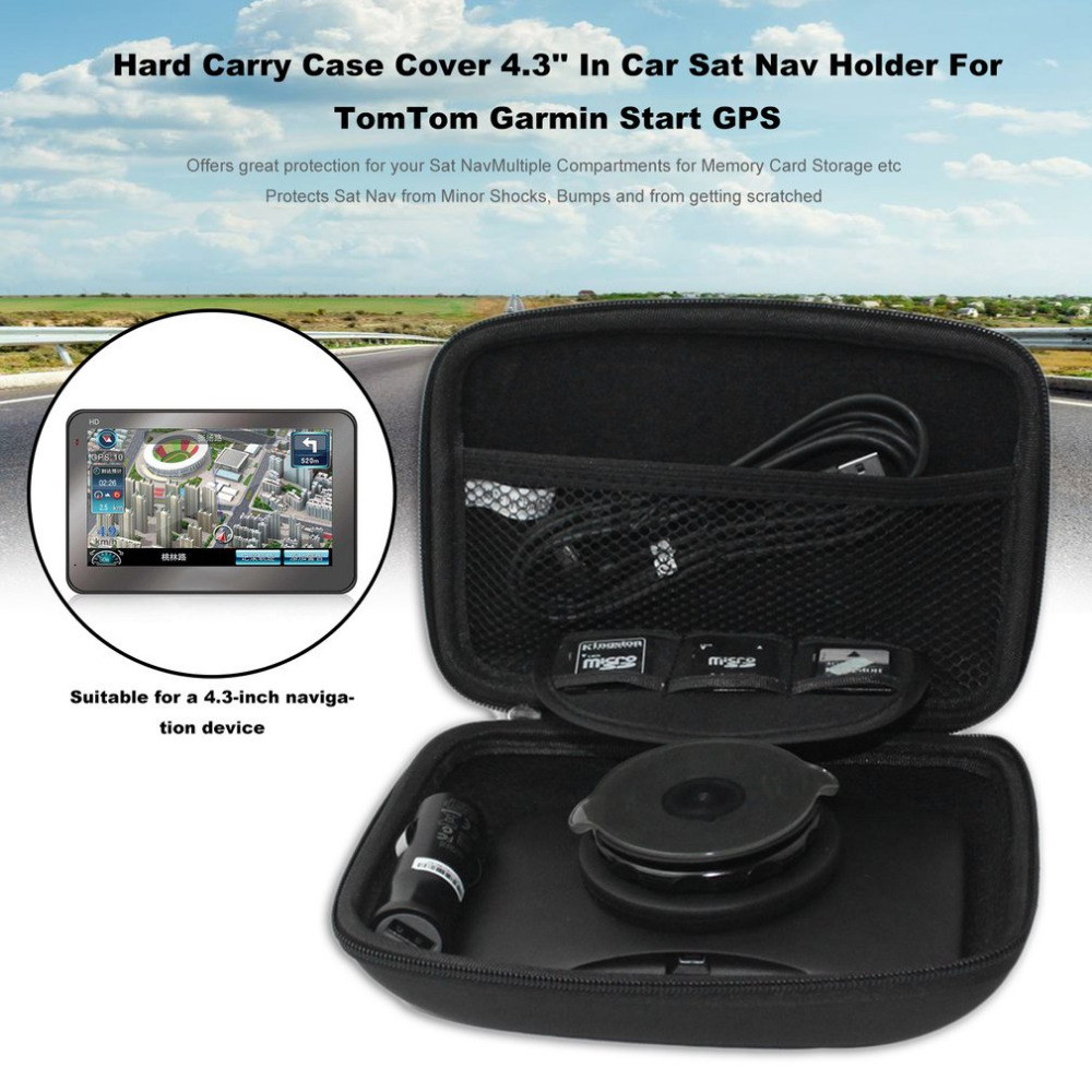 Newes PU Hard Carry <font><b>Case</b></font> Cover 4.3'' In Car <font><b>Sat</b></font> <font><b>Nav</b></font> Holder For TomTom Garmin Start GPS Navigation Protection Package Cover Black image