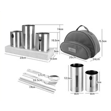 17pcs outdoor stainless steel chopsticks set camping equipment travel portable combination tableware picnic storage bag