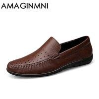 AMAGINMNI Big Size Men Genuine Leather Shoes Slip On Black Shoes Real Leather Loafers Mens Moccasins
