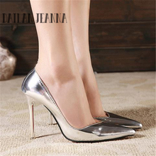 New 2015 Silver Heels Stilettos High Heels Spring Summer Red Bottom Pointed Toe Thin Heels Women Party Shoes Ladies Pumps Shoes