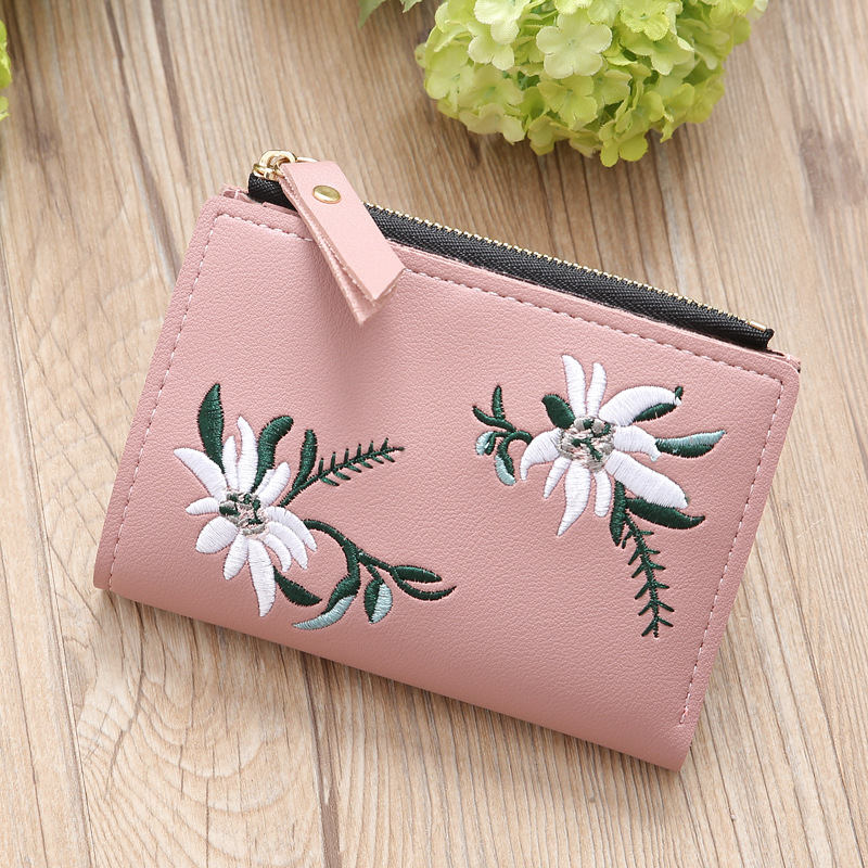 Women Wallets Embroidery Small Leather Purse Women Ladies Card Bag For Women 2019 Clutch Women Female Purse Money Clip Wallet