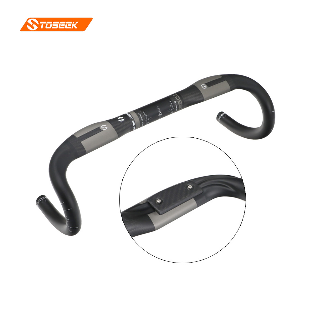 Toseek road bike handlebar tape racing UD 3k carbon handlebar cycling bar super light 31 8
