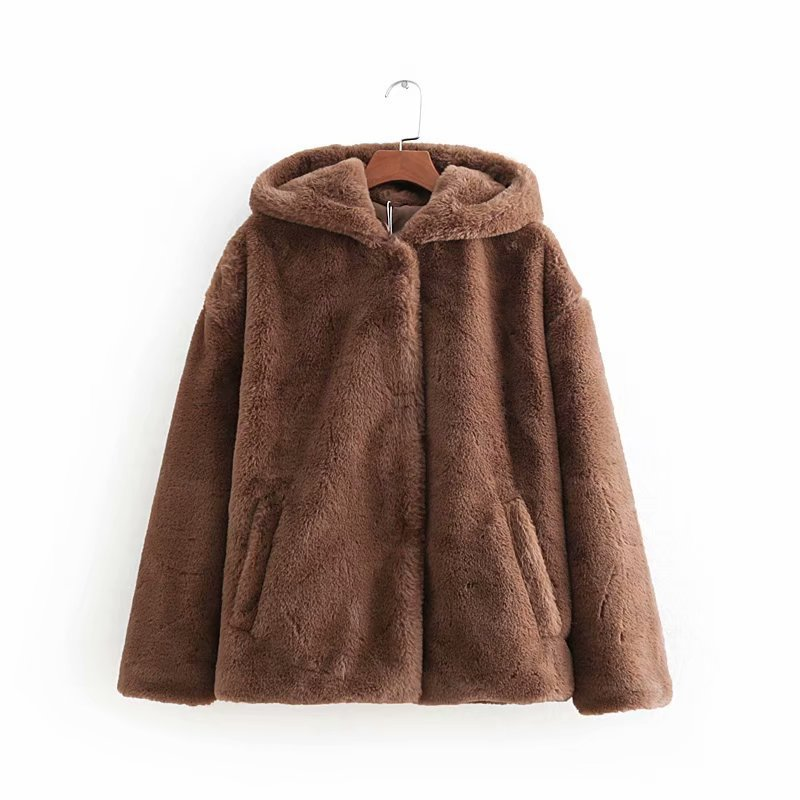 Women NEW Casual Faux Fur Coat Ladies 2018 Autumn Winter Shaggy Fur Warm Soft Outwear With Hood Pockets Thicker Jacket Coats