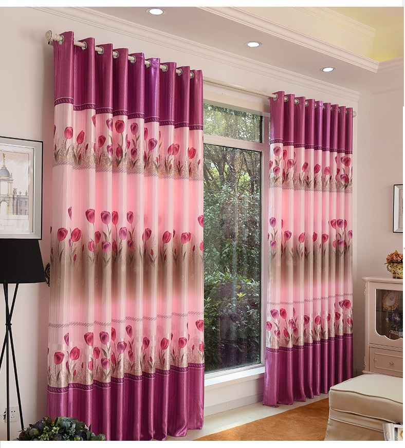 Pink series floral pattern curtains finished/Living room curtains ...