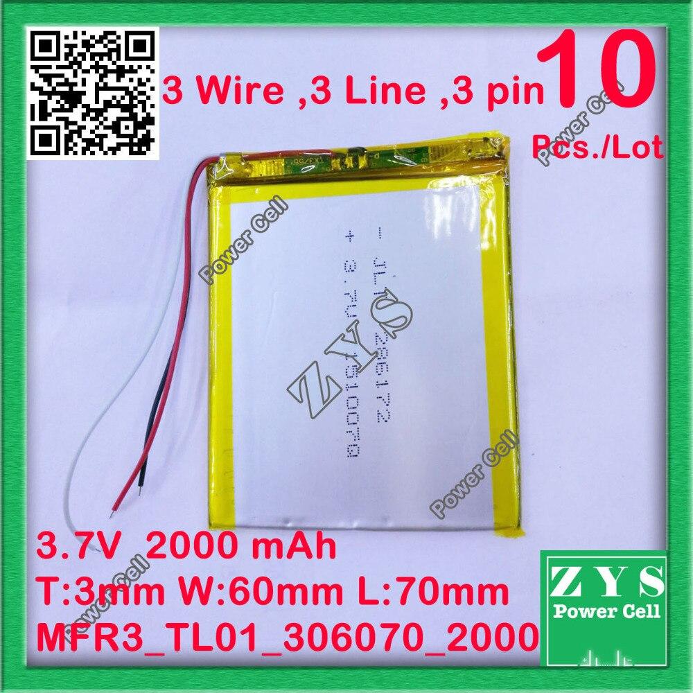 10 pcs./Lot Polymère au lithium ion batterie 3.7 V 306070 peut être personnalisé en gros CE FCC ROHS FS qualité certification 2000 mAh