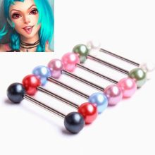 5pcs Colorful Pearl Stainless Steel Ball Barbell Tongue Button Ring Bar Surgical Piercing Sexy Body Jewelry for Women Navel Pier(China)