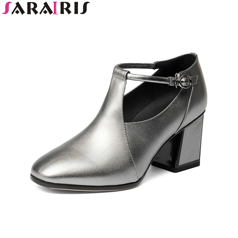 SARAIRIS 2018 Spring Autumn Genuine Leather Ankle Strap Pumps Western Style Casual High Hoof Heel Women Shoes Large Size 33-42 spring autumn national style crude heel high heels genuine leather large size women shoes anti skid elderly shoes pumps obuv