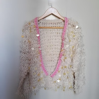HCHENLI 2017 Spring Autumn Sequins Cardigan Women S Sweaters Beading Rose Pink Apricot Short Knitwear Ladies