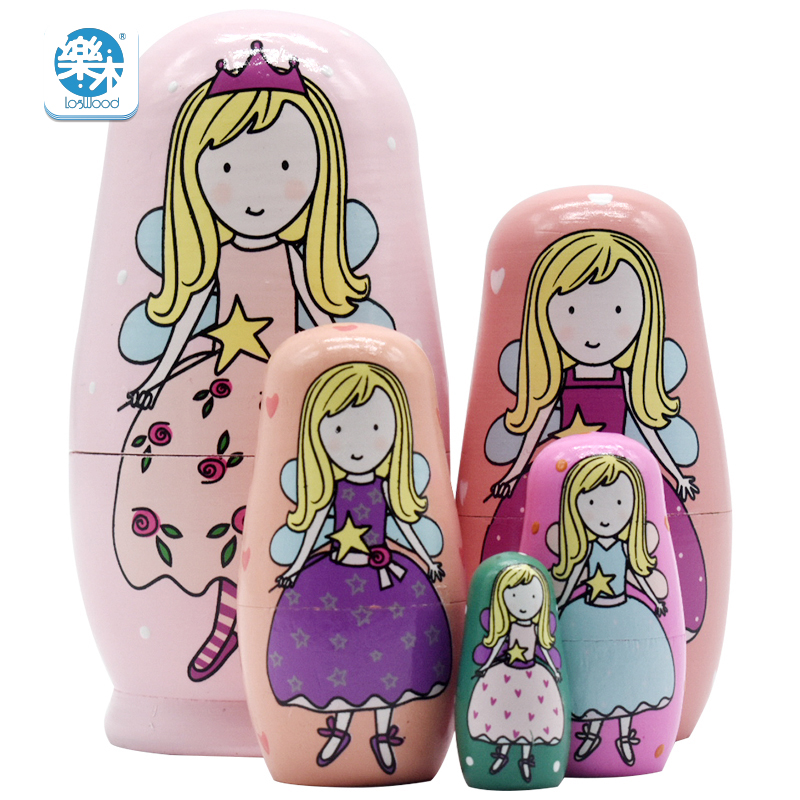 5PCS Wooden Matryoshka Doll Princess House Russian Nesting Dolls Gift Matreshka Handmade Crafts for Girls gifts