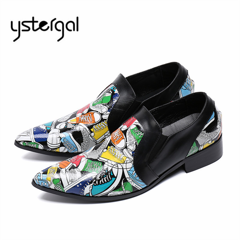 YSTERGAL Pointed Toe Men Leather Shoes Print Casual Shoe Wedding Dress Shoes Slip On Prom Flats Mens Oxfords Chaussure Homme choudory summer dress crocodile skin shoes men breathable prom shoes full grain leather pointy mens formal shoes shoe lasts