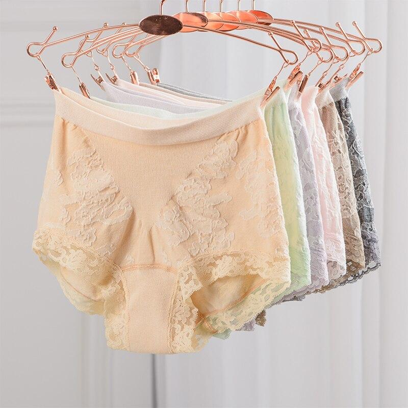 Buy GUIYI Women Sexy Panty Femme Cotton Slim Elastic Seamless Lace Briefs Underpants Women Mid-rise Knickers Ladies Underwear SH003