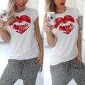 Lábio vermelho camiseta harajuku kawaii bts chemise femme camisetas hipster mujer mulheres verão casual branco preto manga curta tee