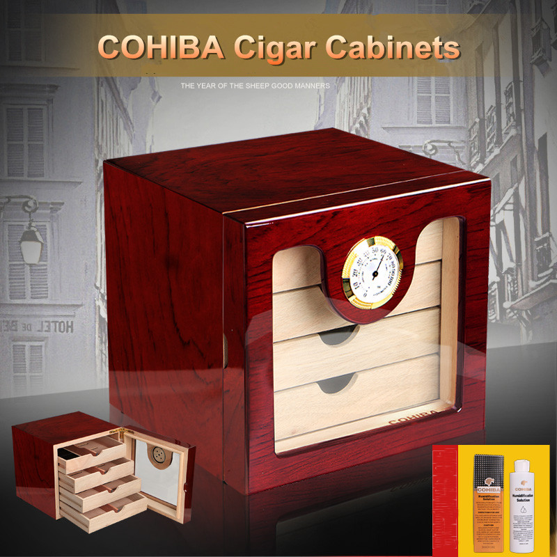 Excellent Quality High Glossy Piano Finish Wooden Cuban Cigar Cabinet Humidor Storage Box W 4 Drawers