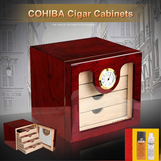Excellent Quality High Glossy Piano Finish Wooden Cuban Cigar Cabinet  Humidor Storage Box W/ 4
