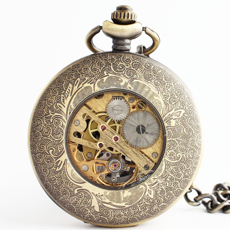 fashion retro mechanical pocket watch engraved hollow flower shaped back flip pocket watch chain for