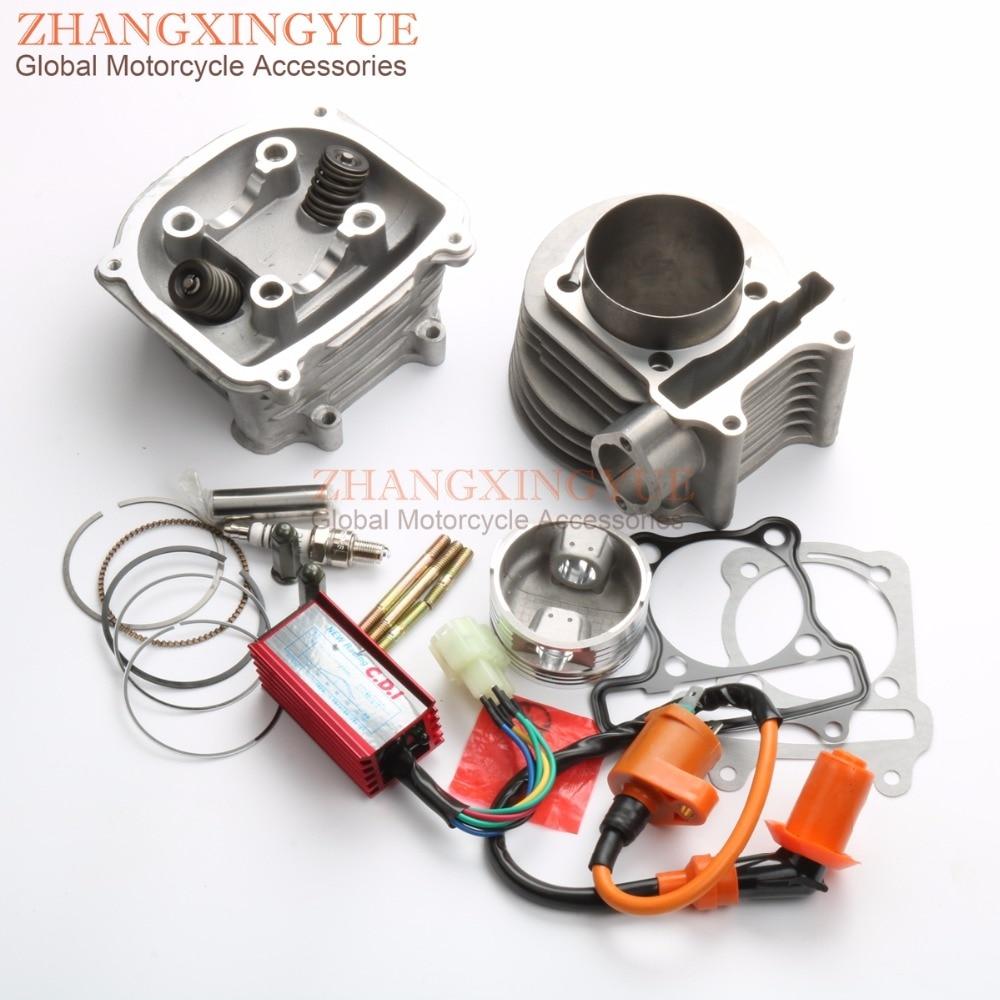 180cc 61 мм Двигатель восстановить комплект цилиндра комплект головка блока цилиндров & КДИ катушки для gy6 157QMJ 150 куб. квадроцикл 150cc китайские скутера