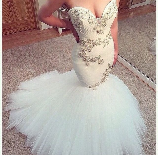 Sexy Mermaid Wedding Dresses High Quality Beading Applique Bride Gown vestido de noiva Custom Made