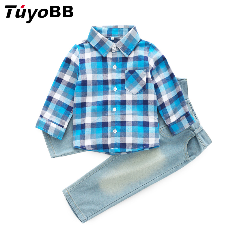 cow boys denim sets 2018 spring autumn plaid sleeved shirts jean trousers 2 pcs casual clothing set suits