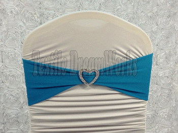 Hot Sale Lake Blue Spandex Bands / Lycra Band /Chair Covers Sash With Heart Shape Buckle For Wedding & Banquet