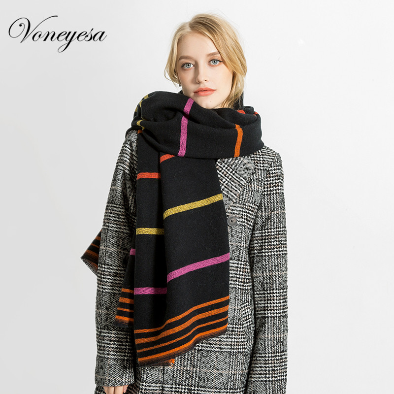 Voneyesa Winter Long Scarf Newest Cashmere Warm Shawl Winter Knitted Blanket Scarf Hijab Colorful Stpired Women Scarf ROZ1747