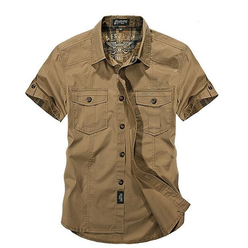 AFS ZDJP Men 2018 New Summer Men's Solid Military Short Sleeves Shirts Cotton Breathable Chemise Homme Loose Army Shirt