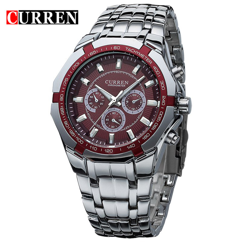 Curren Men Business Watch Clock Mens Watches Top Brand Military Full Stainless Steel Quartz Wrist Watch Relogio Masculino 8084 new fashion men business quartz watches top brand luxury curren mens wrist watch full steel man square watch male clocks relogio