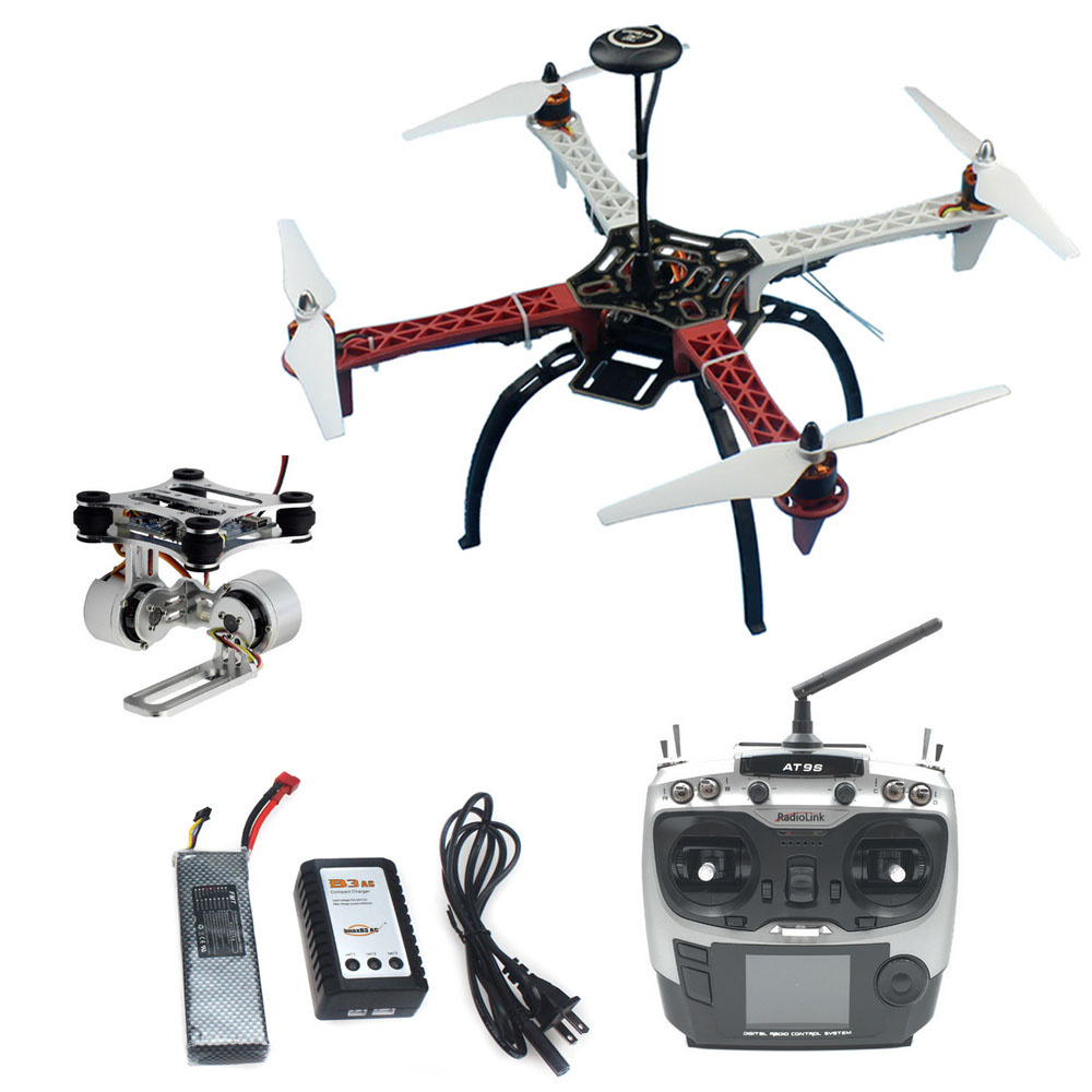 DIY RC Drone RFT Full Kit Assembled HJ 450 450F 4-Aixs with APM 2.8 Flight Controller GPS Compass & Gimbal AT9S Transmitter RX diy multirotor drone flight control kit apm 2 8 flight controller m8n gps black shell for f450 f500 f550 quadcopter