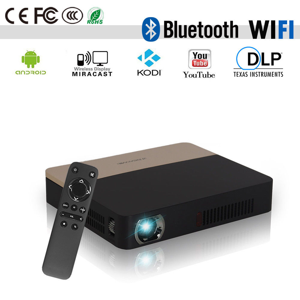 CAIWEI HD 1080p Android WiFi Smart Projector Bluetooth DLP Proyector Pocket Beamer For Home Theater Smartphone TV 4K Video wzatco short throw projector daylight hdmi home theater 1080p full hd 3d dlp projector proyector beamer for church hall hotel