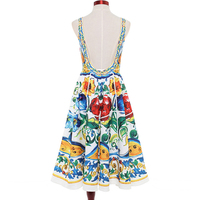 HIGH QUALITY Newest Fashion 2017 Designer Runway Dress Women S Sleeveless Retro Art Printed Mid Calf